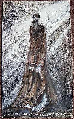 Brian Froud original mixed media painting monk in chains 1966 good provenance