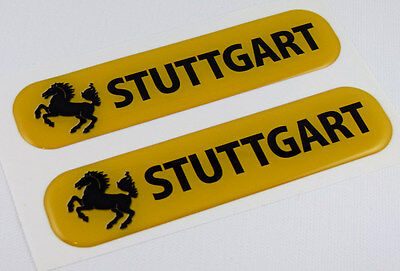 "Stuttgart Flag Domed Decal Emblem Car Flexible Sticker 5"" Set of 2"
