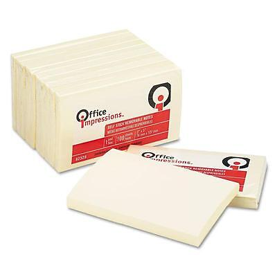 """Office Impressions, Self Stick Notes, 3"""" X 5"""", Yellow, 100-Sheet Pads, 12-Pack"""