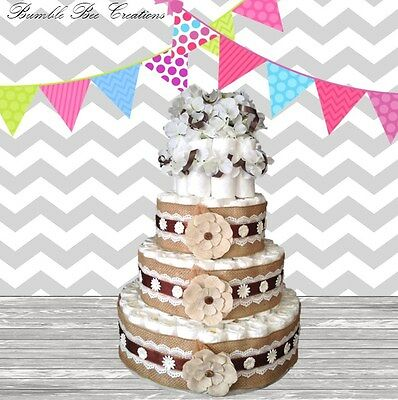 Burlap Brown White Flower 4 Tier Diaper Cake / Centerpiece / Baby Shower / Gift
