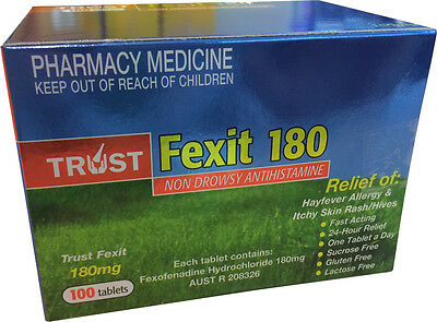 SAME AS TELFAST FEXOFENADINE 180MG *100* TABLETS Hayfever Allergy Antihistamine