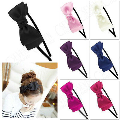 UK Lady Flower Big Bowknot Ribbon Hair Headband Bow Head Band Clip Accessories