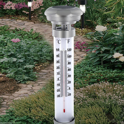 New Solar Powered Led Garden Thermometer Outdoor Temperature Energy Saving