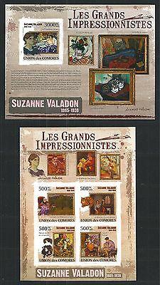 Comores Komoren 2009 Mini Sheet Block Set Painting Maler Suzanne Valadon Imperf