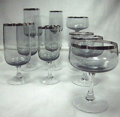 10 Stemmed Thick Platinum Trim Glasses Smoke Bowl Clear Stem Water Wine Sherbet
