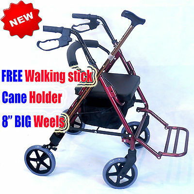 CA888 CareMax Transport Chair Rollator Walking Frame Walker  red