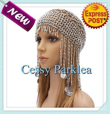 Belly Dance Costume Jewelery Handmade Beads Cap w/Coins Headpiece Silver Gold