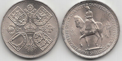 1953 Coronation Queen Elizabeth Crown 5/-