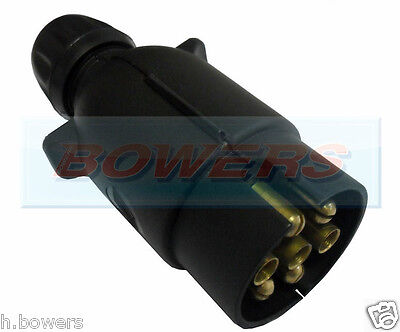 7 Pin Black Towing Electrics Plug & Cover 12N Type For Caravan / Trailer Lights