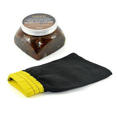 Moroccan Beldi Black Soap Savon Noir 250g with Hammam Kessa Exfoliation Glove