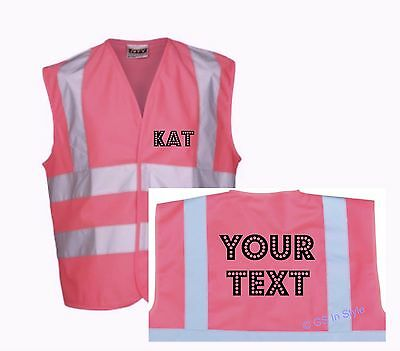 Personalised Pink Children High Visibility Safety Vest Waistcoat Kids Hi Vis