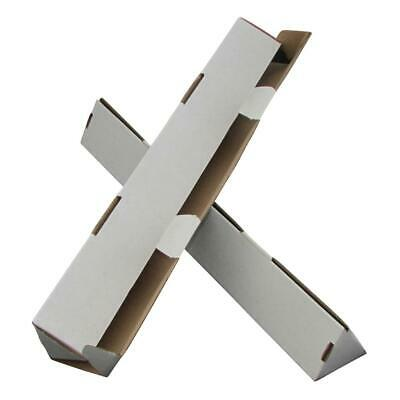 100 x Triangle Cardboard Mailing Tubes 450x60mm White Packaging Carton Box
