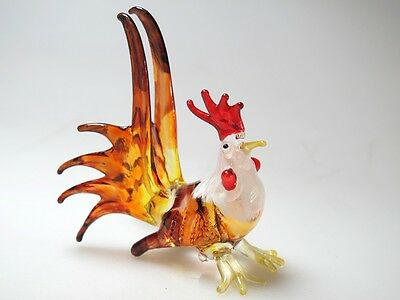 Farm MINIATURE HAND BLOWN Art GLASS Mini Rooster Animal FIGURINE Collection