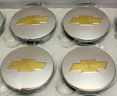 New Chevy Gold Bowtie Polished  Center Caps Factory OEM 3 1/4 inch 3.25 inch