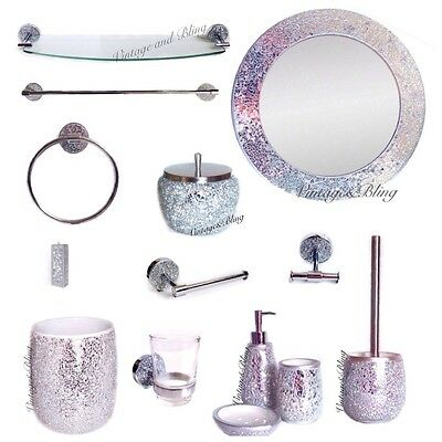 Black bling diamante bathroom accessories ceramic bath set for Silver crackle glass bathroom accessories