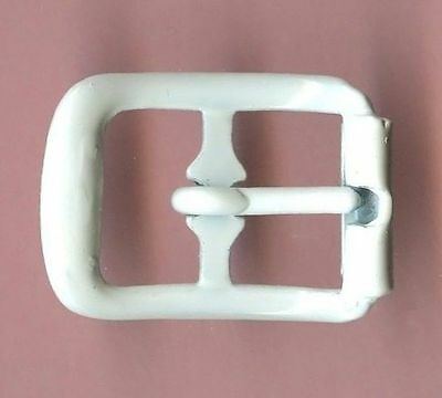 Vintage 12 Shiny White Powder Coated Fancy 19x13MM Buckles FL3