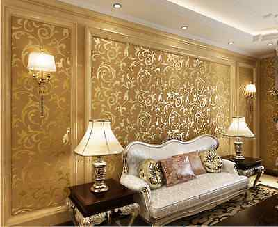 GOLD WALLPAPER ROLL DAMASK EMBOSSED FEATURE Breathable Non-Woven Fabric 3D