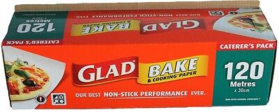 GLAD BAKE PAPER 120 Metre x 30cm Baking Caters Pack Grease Proof Paper New