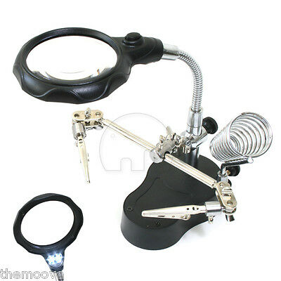 New LED HELPING HAND CLIP LED MAGNIFYING SOLDERING IRON STAND MAGNIFIER CLAMP