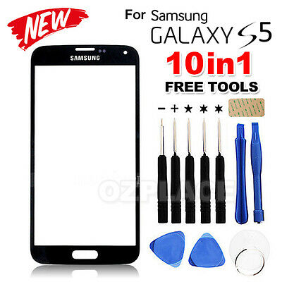 Premium A Outer Glass Screen Lens Replacement for Samsung Galaxy S5 Black