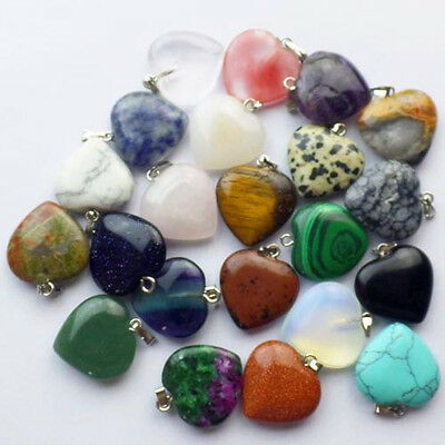 22x20x6mm Mixed stone Heart Pendant Bead 20Pcs 30Pcs 50Pcs 80Pcs 100Pcs