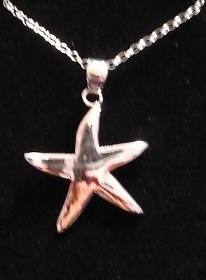 "925 Sterling Silver Star Pendant On 16"" Silver Chain"
