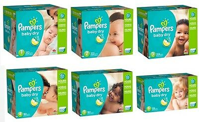 Pampers, Baby Dry Diapers, Size 1 2 3 4 5 6, PICK ANY SIZE & COUNT