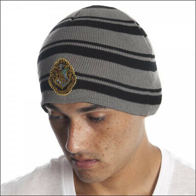 Harry Potter Hogwarts House Crest Striped Beanie Cap Hat Costume Official NEW