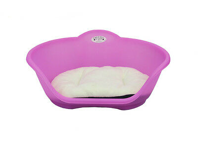 Large Plastic Pink With White Cushion Pet Bed - Dog/cat/animal/sleep/basket