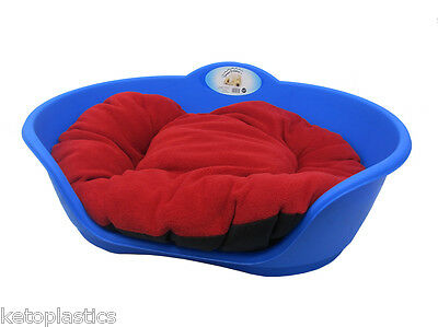Large Plastic Blue With Red Cushion Pet Bed - Dog/cat/animal/sleep/basket