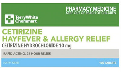 SAME AS ZYRTEC - Cetirizine 10mg *100* Allergy Sinus Relief FREE SAME DAY POST