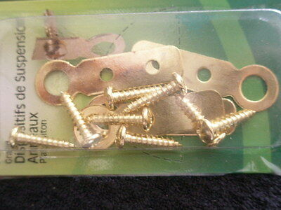 1~ NEW Large Flat Brass Ring Hanger 4 Pack Picture Hangers.