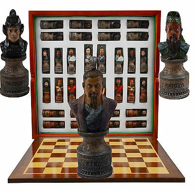 Chinese Three Kingdoms Themed Chess Set. Resin Pieces / Wood Board and Box
