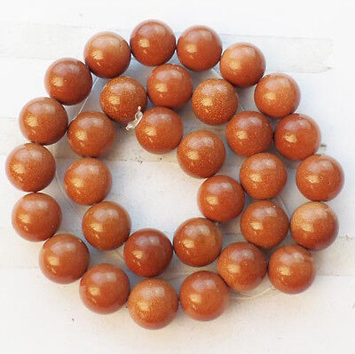 1Strand Gold Sand Stone 12mm Round loose bead 15.5 inch N2223