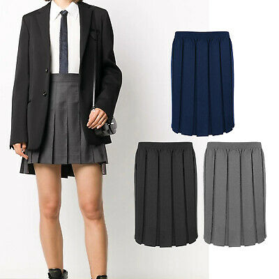 Girls School Uniform Box Pleated Skirt 7 Colours Ages 2-18