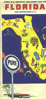 1961 Pure Oil Florida Vintage Road Map