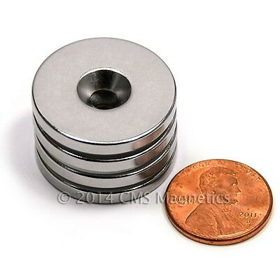 "16 PC Neodymium Magnets N42 1""x1/8"" w/ 1 Countersunk hole for #8 Screw"