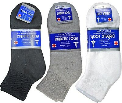 3-12 Pairs Diabetic Ankle Quarter Crew Socks Health Cotton Men Women Circulatory