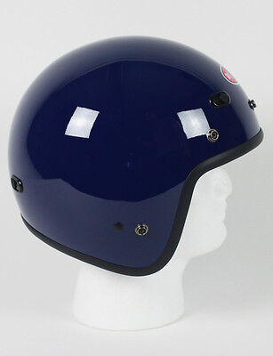 Blue Open Face Retro 3/4 Motorcycle Helmet DOT Vents Biker Cruiser Bobber M L XL