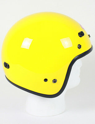 Yellow Open Face Retro 3/4 Motorcycle Helmet DOT Vents Biker Cruiser Bobber NEW