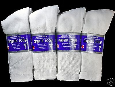 3-12 Pairs Mens White Diabetic Crew Socks Health All Size Loose Fit Top Health