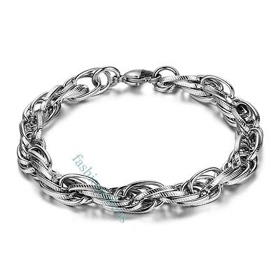 Fashion 8mm Polished Stainless Steel Link Chain Men's Bracelets Bangle Cool New