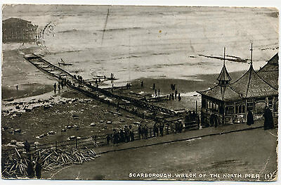 Scarborough Wreck of the North Pier Vintage Old Post Card