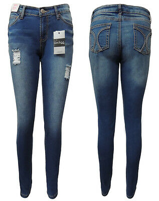 Wakee. Blue High Rise Skinny Leg Jeans With Ripped Feature