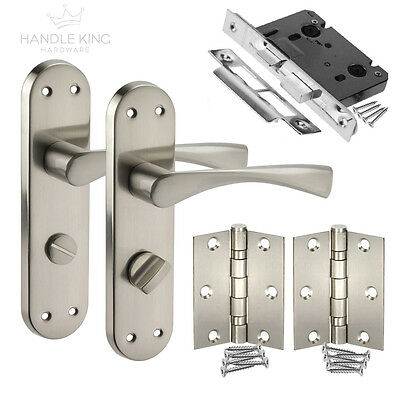 Winged Internal Brushed Chrome Door Handles on Backplate - Bathroom Door Handles