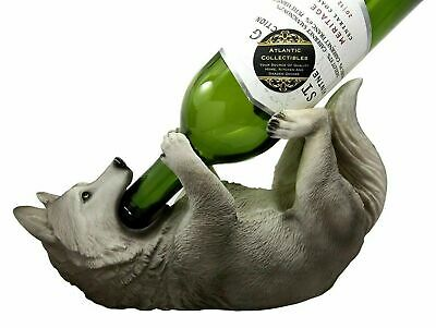 """10.5""""L Gray Timber Wolf Wolves Vino Wine Holder Caddy Figurine Home Decor Statue"""