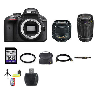 Nikon D3300 SLR Camera - Black w/18-55mm & 70-300mm Lenses 16GB Full Kit