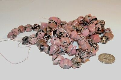 Rhodonite 10x10mm Star shaped Drilled Gemstone Beads (7184)