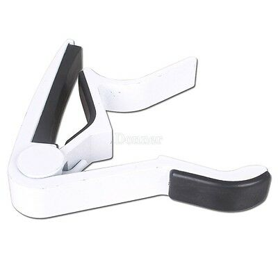 White Acoustic Electric Guitar Metal Quick Change Trigger Tune Key Capo Clamp+US