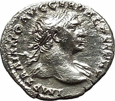 Trajan 105AD  Silver Authentic Ancient Roman Coin Victory Nike Cult   i40569